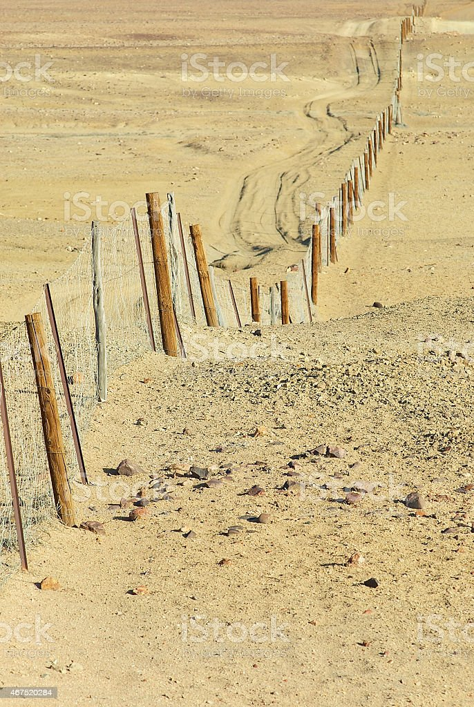 Dingoe fence in the Australian Outback. stock photo