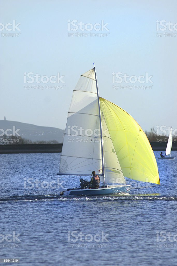 Dingy Yellow Spinaker royalty-free stock photo