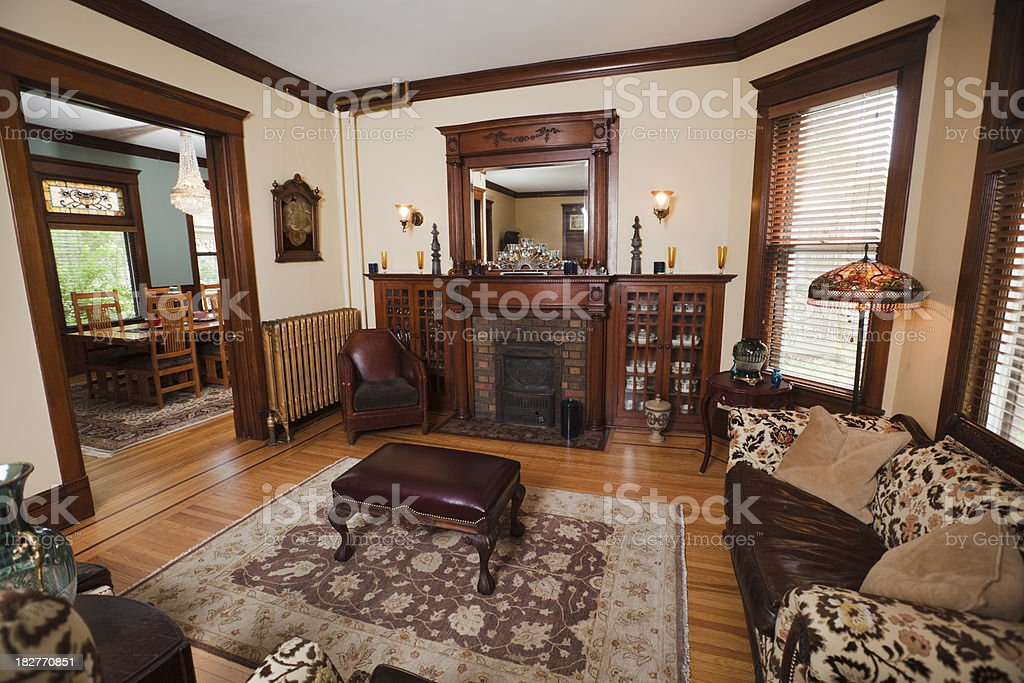 Dining And Living Room Of A Traditional Victorian Style