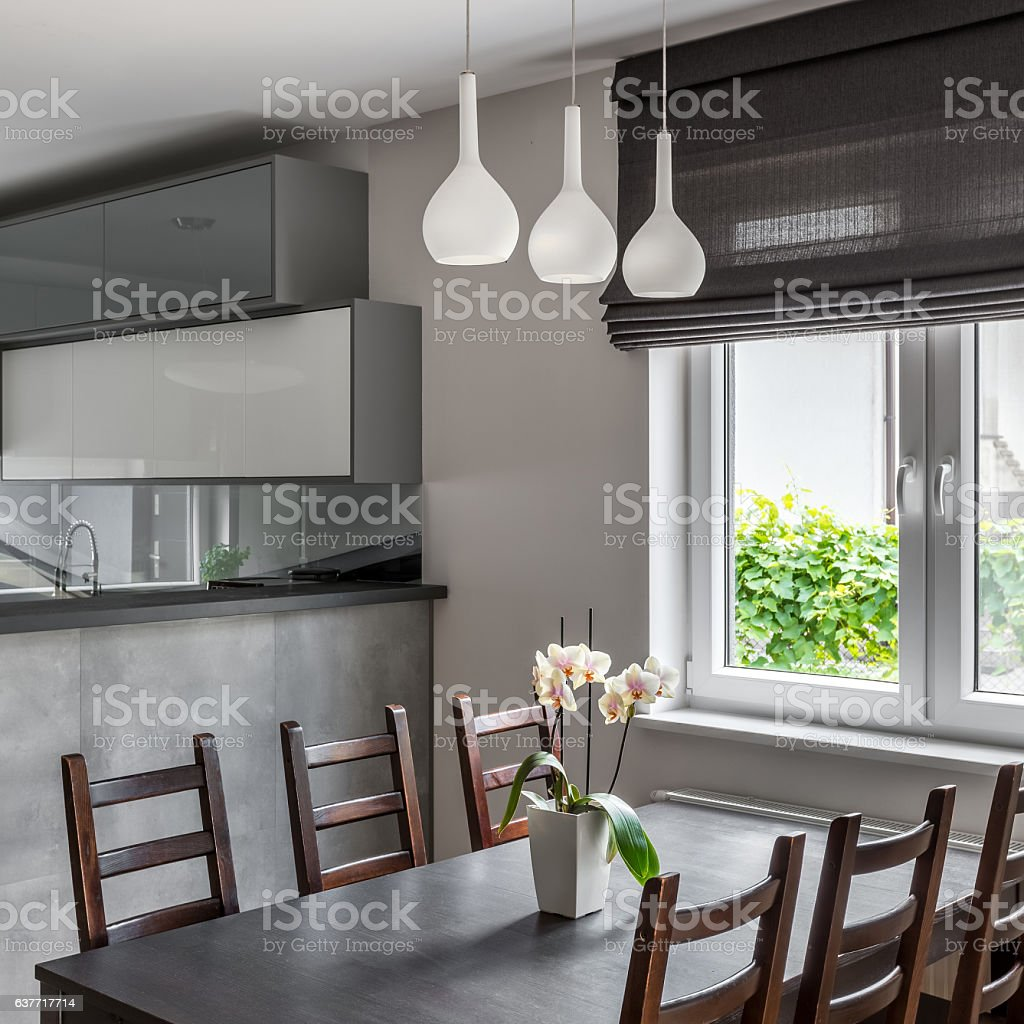 Dining area with window stock photo