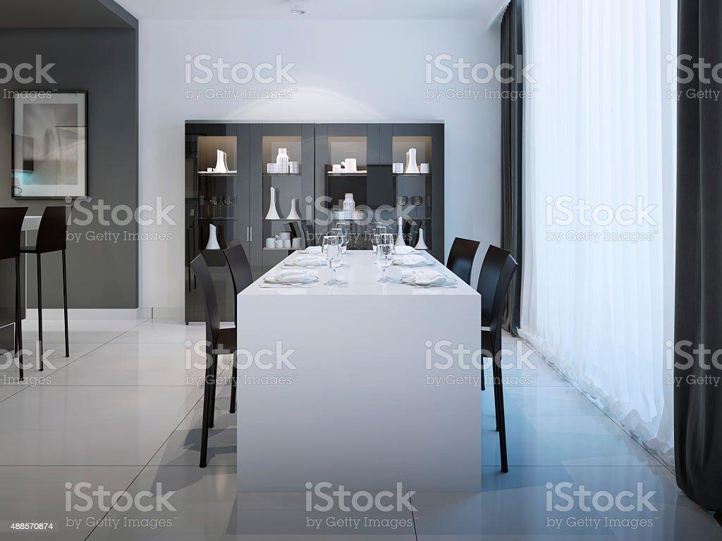 Dining at minimalist kitchen design stock photo