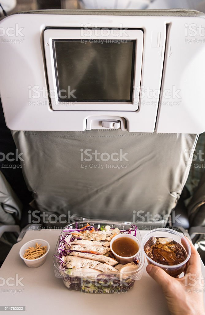 Dining at the airplane stock photo