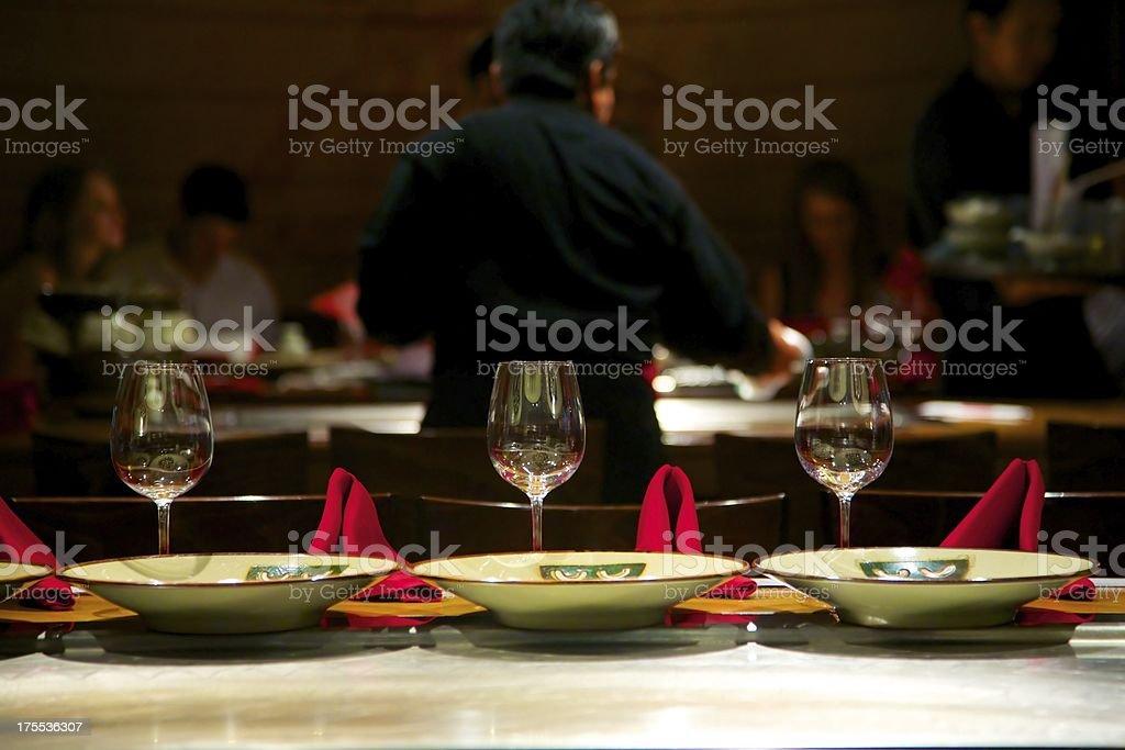 Dining at upscale Japanese Tepan Yaki Restaurant stock photo