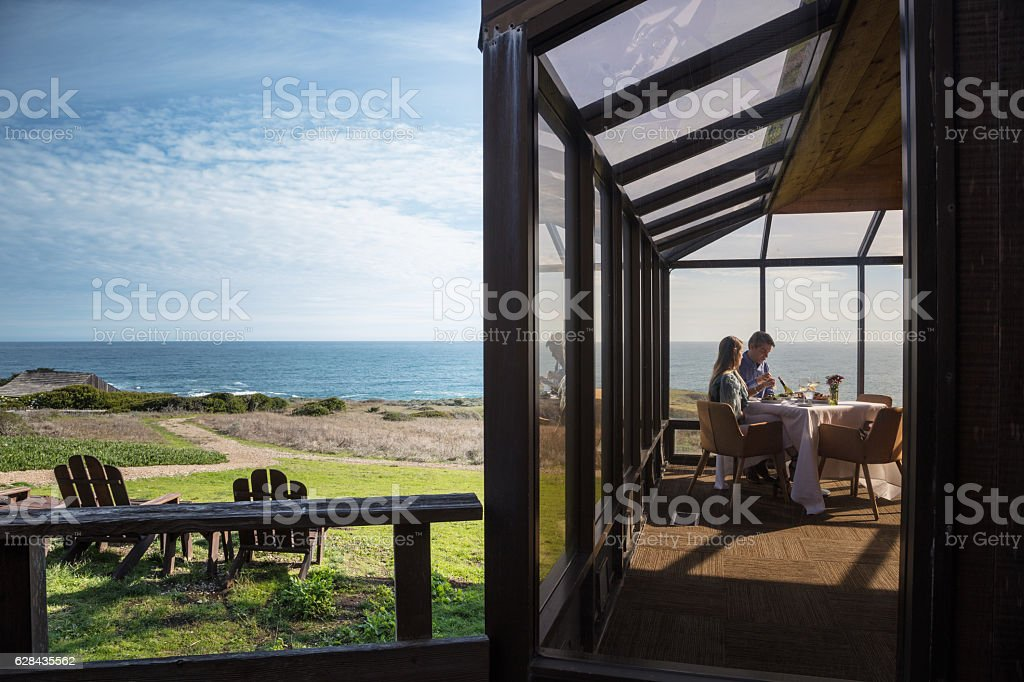 Dining by Ocean stock photo