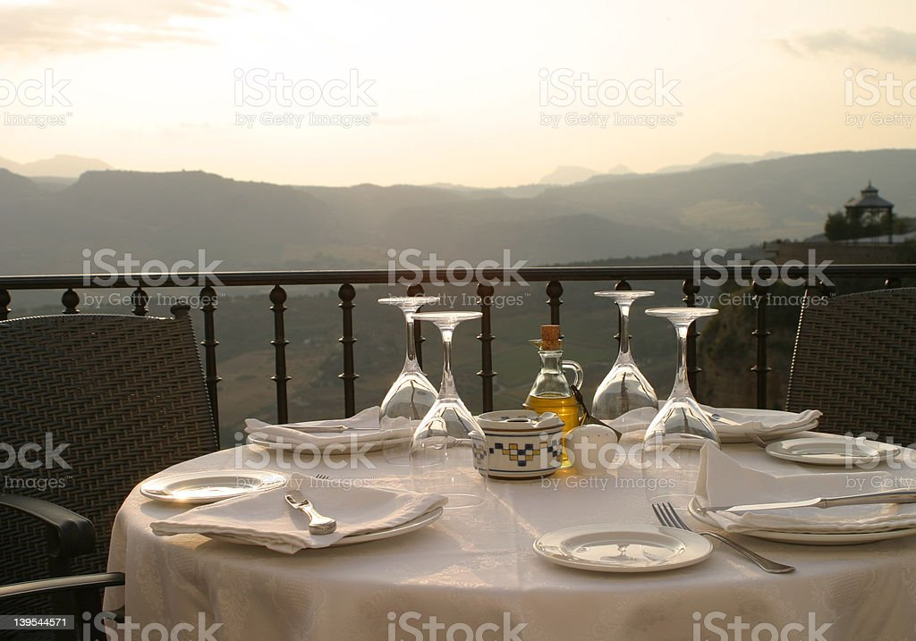 Dining by sunset stock photo