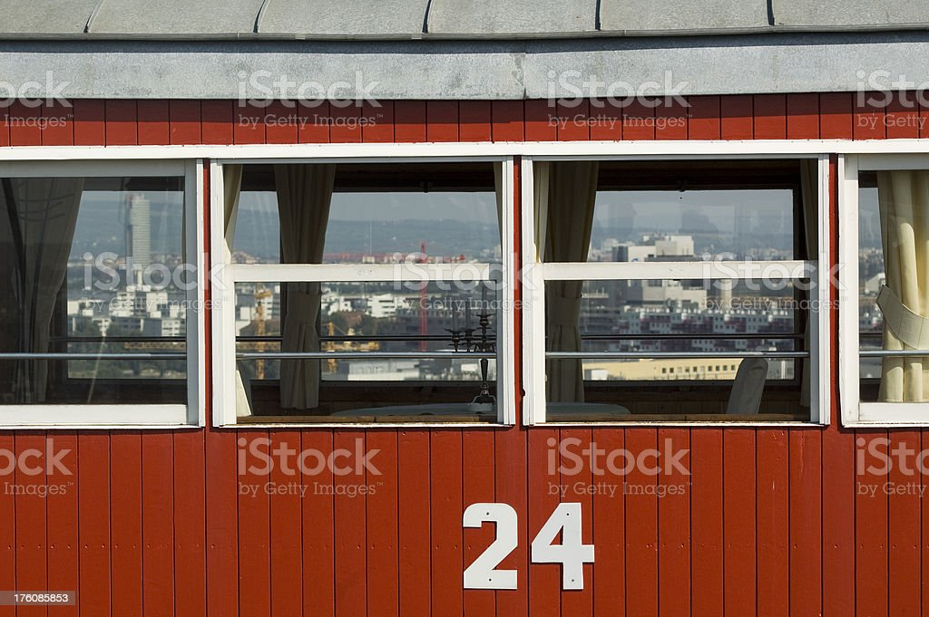 Dining cabin of Ferris Wheel with Vienna Cityscape royalty-free stock photo