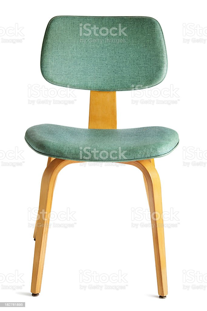 1950s Period FurnitureaaDining Chair Front Isolated on White Ba stock photo