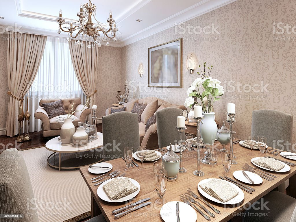 Dining classic style stock photo