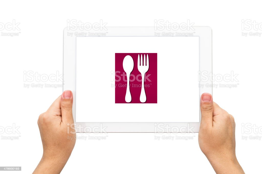 Dining icon with holding tablet stock photo