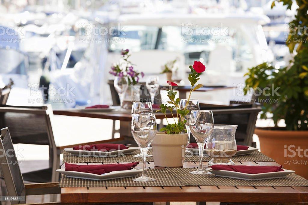 Dining in Port De Soller stock photo