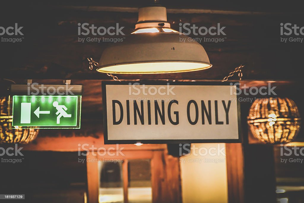 Dining only sign royalty-free stock photo