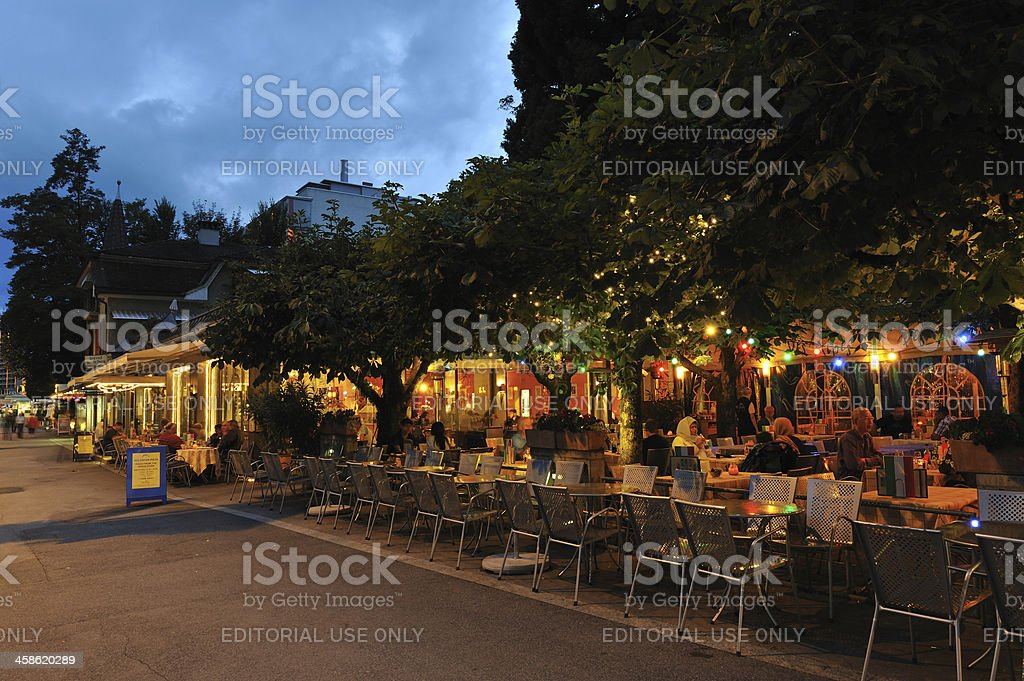 Dining Outdoor in Interlaken royalty-free stock photo