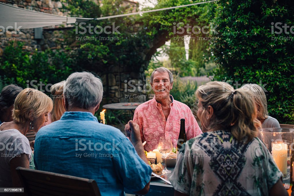 Dining Outdoors with Friends stock photo