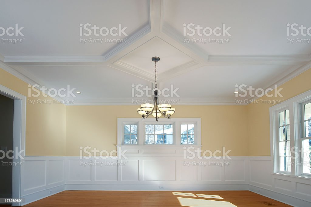 Dining Room and Chandelier stock photo