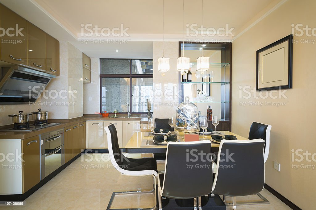 dining room and kitchen royalty-free stock photo