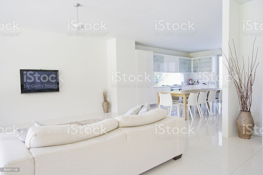 Dining room and living room of modern home stock photo