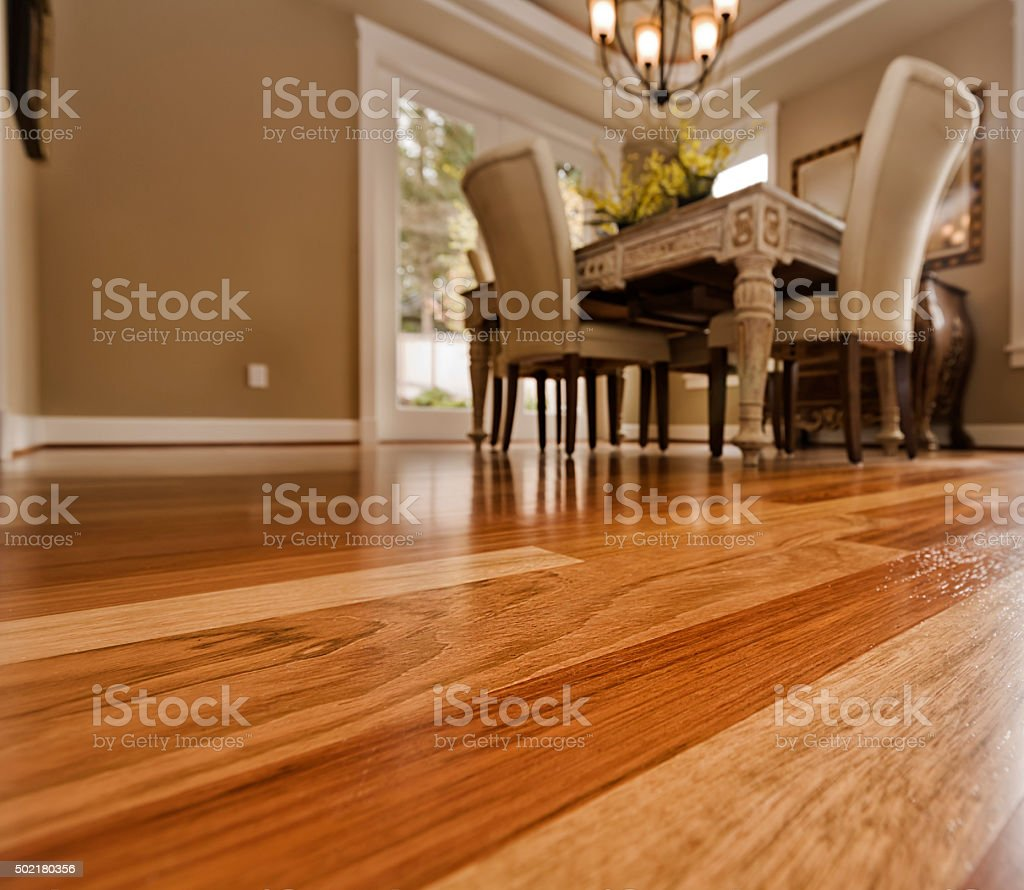 Dining room Hardwood floors stock photo