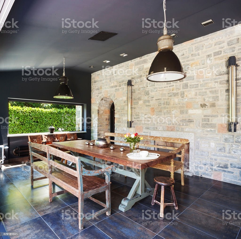 Dining room in a modern house stock photo