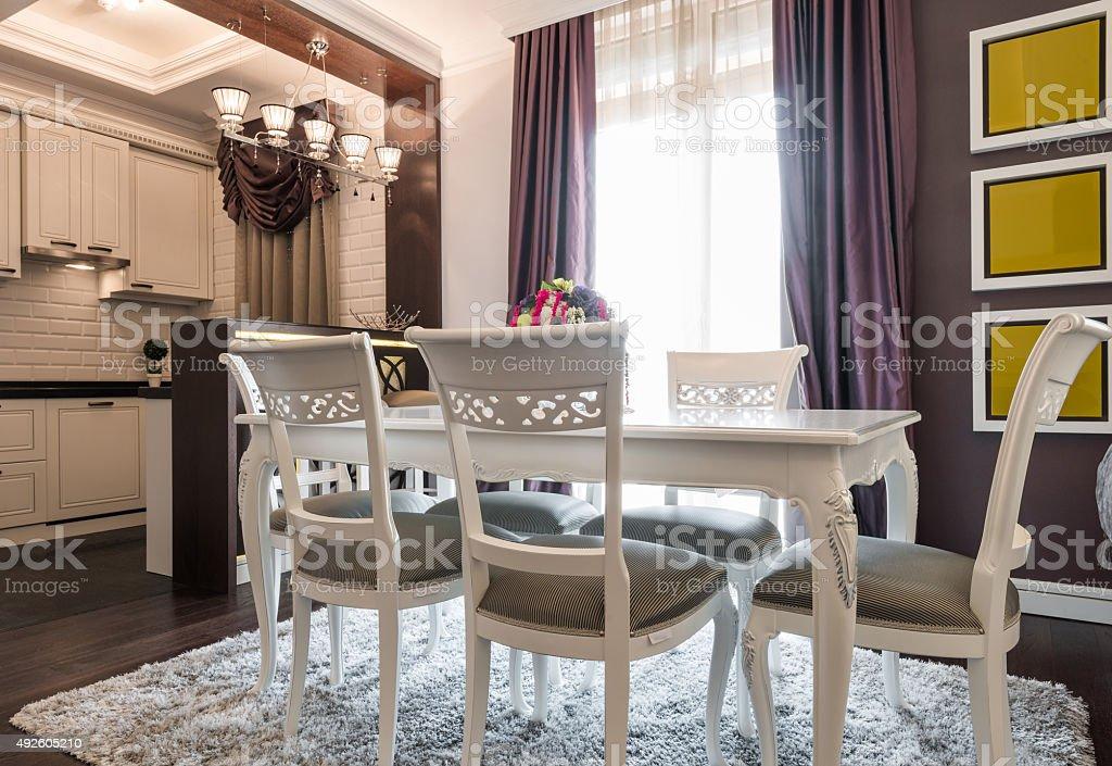 Dining room interior stock photo