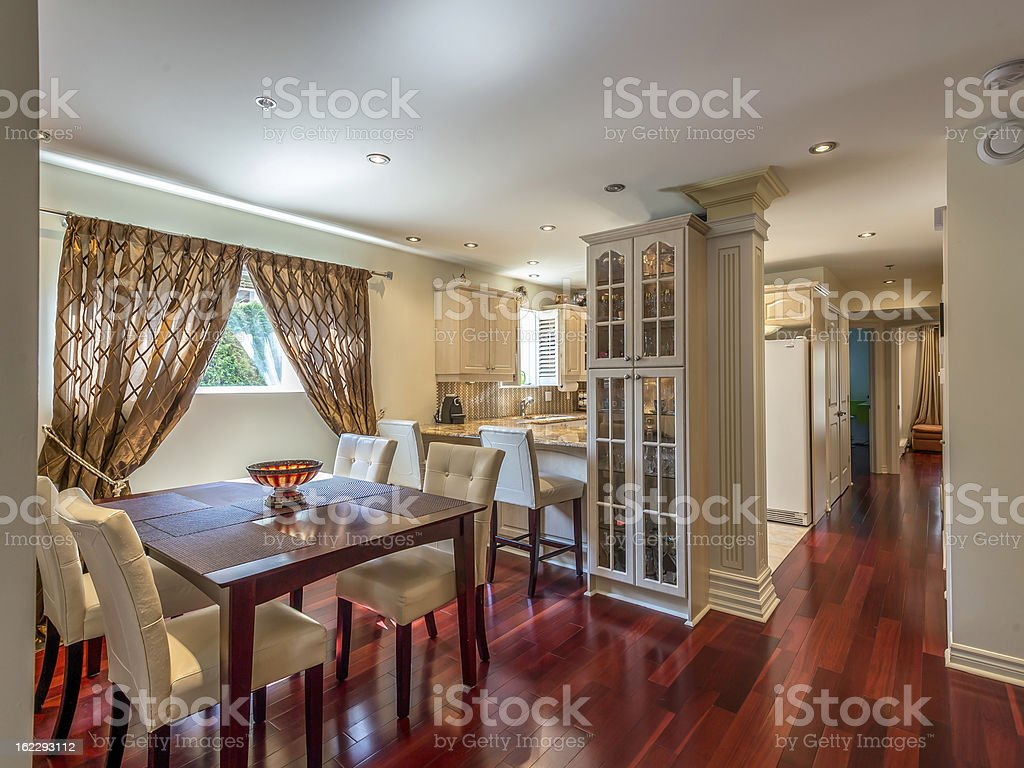 Dining Room kitchen and hallway view royalty-free stock photo