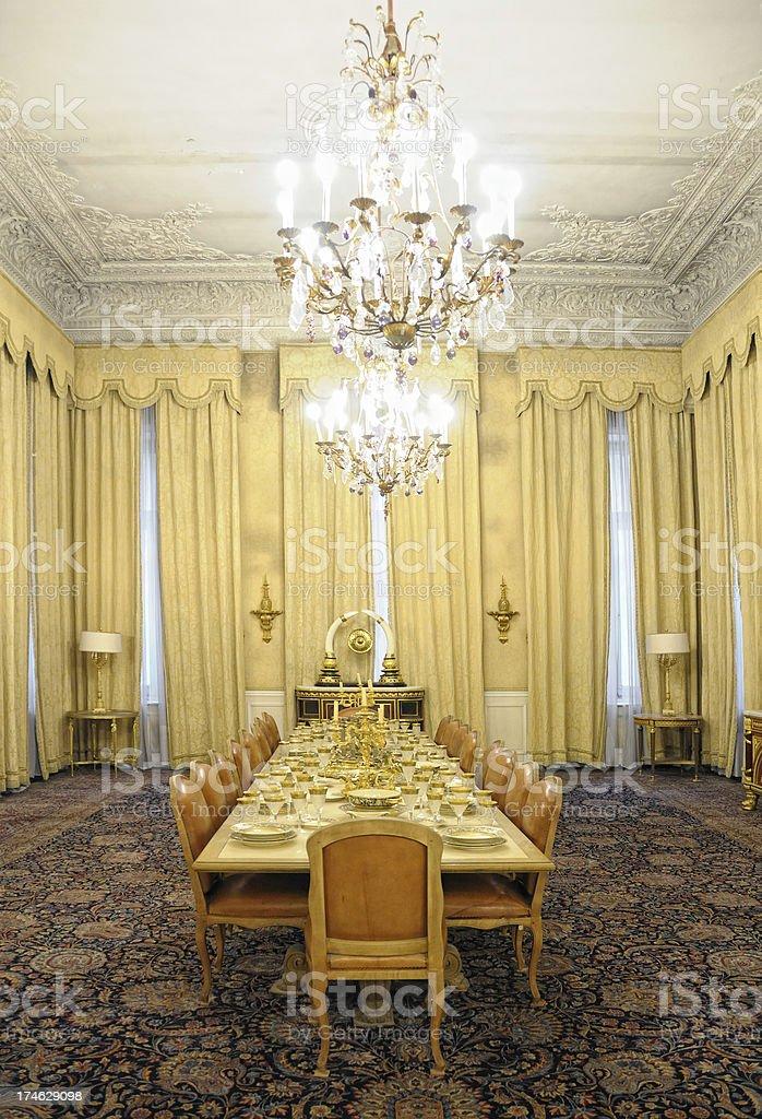 Dining Room of 70s, Sadabad Palace, Tehran, Iran royalty-free stock photo