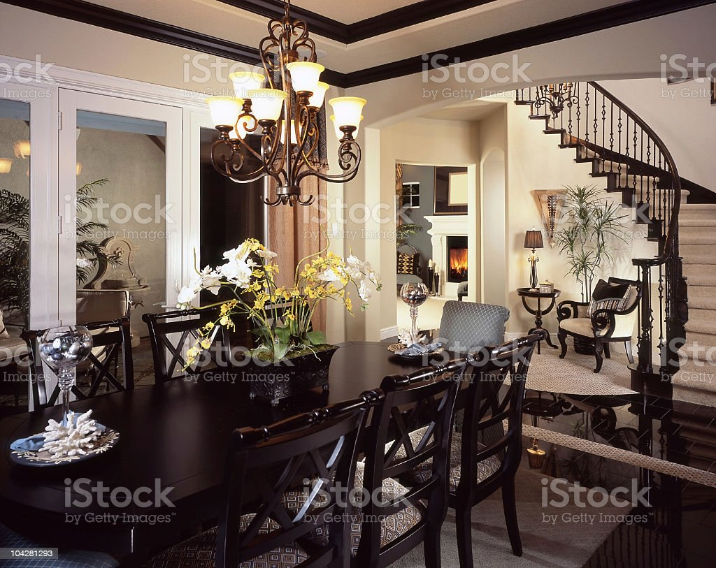 Dining room Stair Interior Design Home royalty-free stock photo