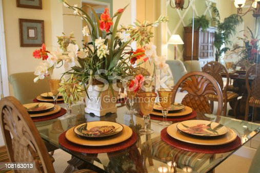 Dining Room Table And Chairs With Floral Arrangement Stock Photo 108163013