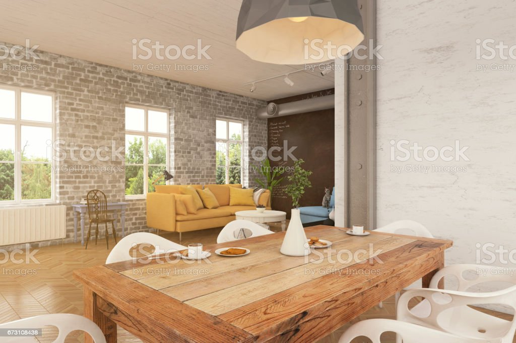 Dining room table interior close up stock photo