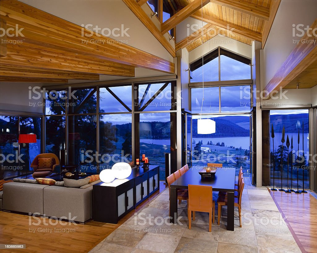 dining room windows house vaulted ceiling stock photo