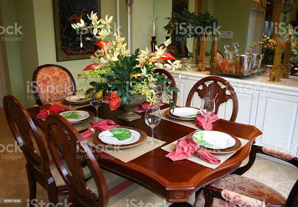 Dining Room with Floral Centerpiece royalty-free stock photo