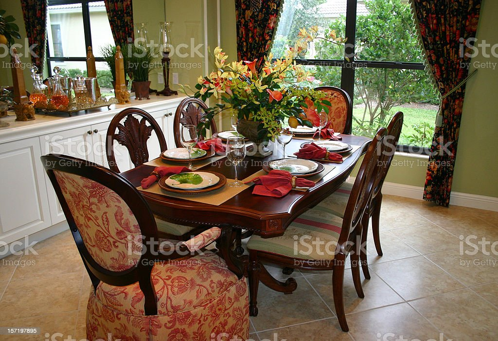 Dining Room with Garden View royalty-free stock photo