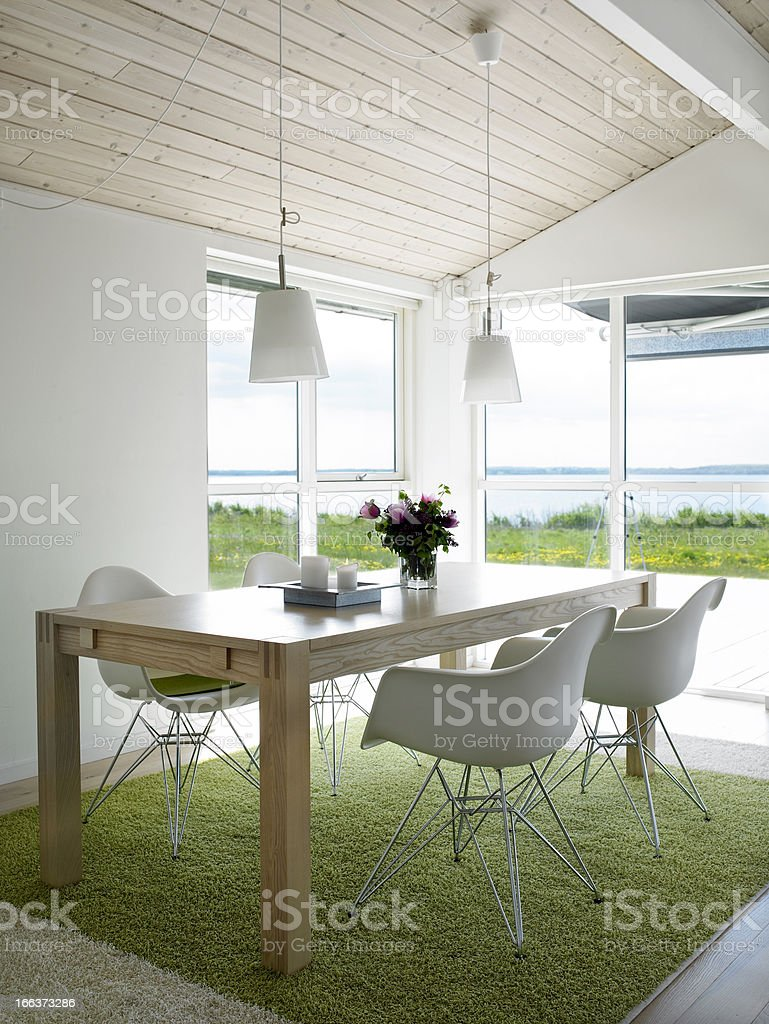 Dining room with view. stock photo