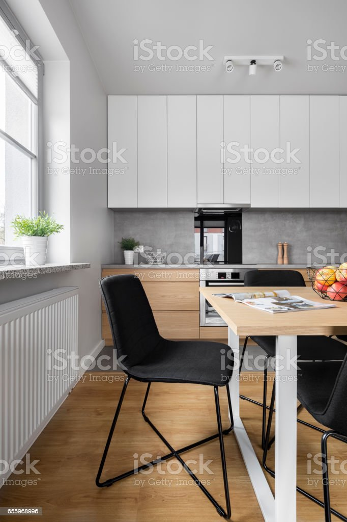 Dining space in kitchen stock photo