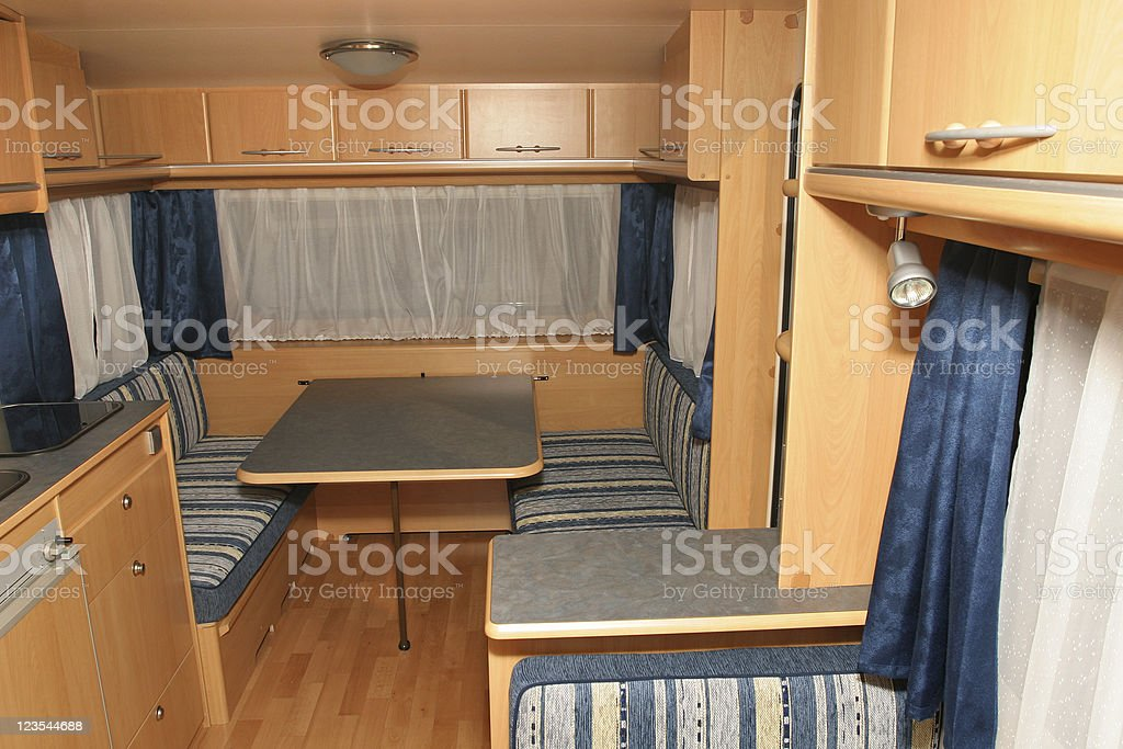Dining space in motor home royalty-free stock photo
