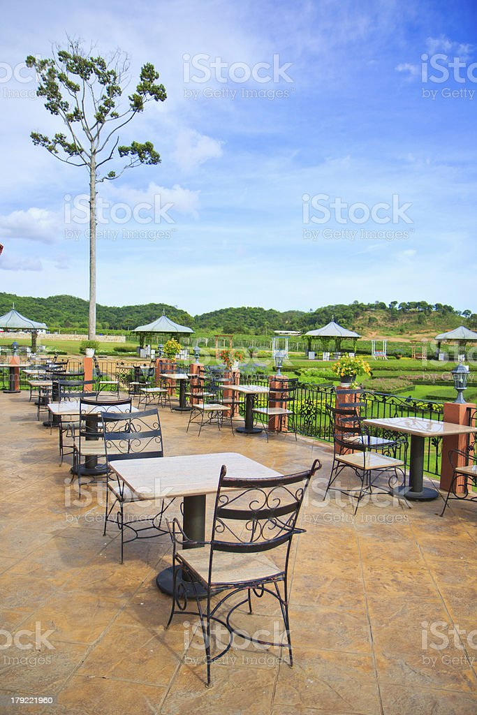 Dining table outdoor royalty-free stock photo