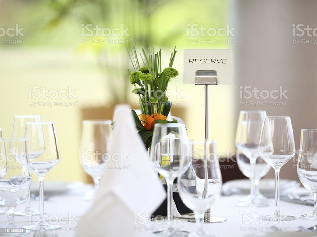 Dining table reservation. stock photo