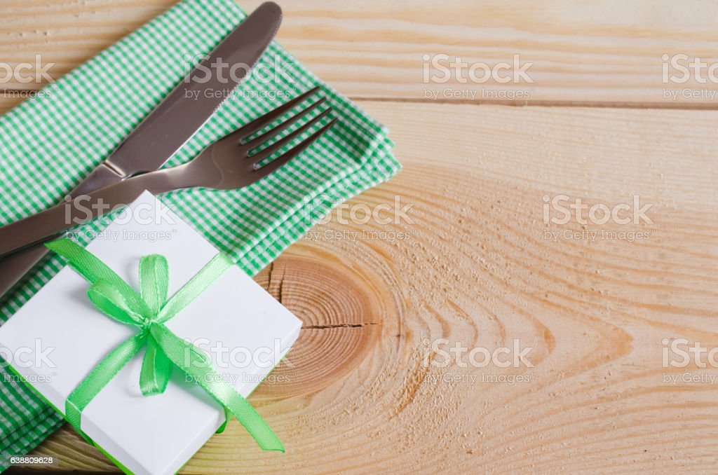 Dining Table Setting. Cutlery with Empty Tag and Present. stock photo