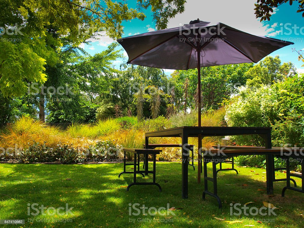 dining table with parasol stock photo