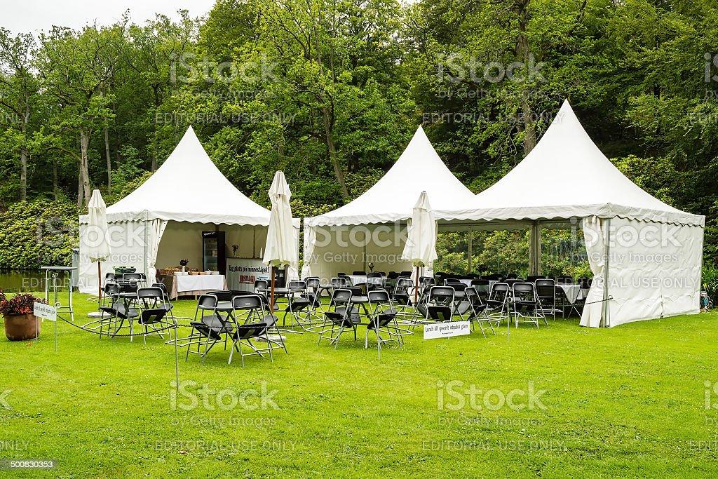 VIP dining tent stock photo