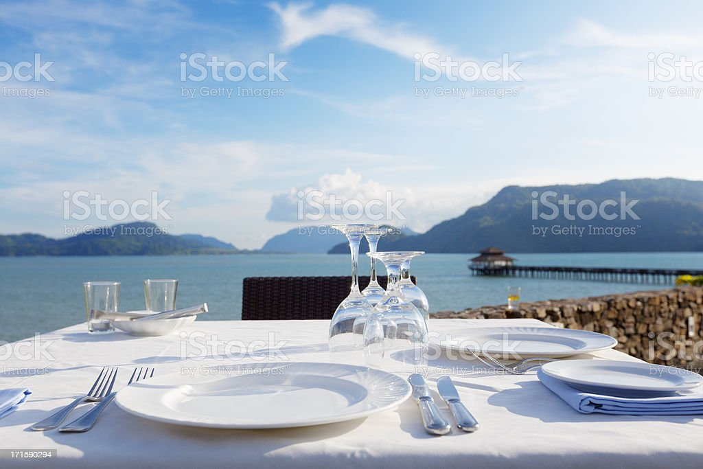 dining with a view stock photo