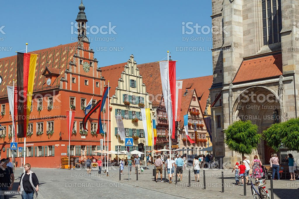 Dinkelsbühl in Franconia: Beautiful ancient houses at the marketplace stock photo