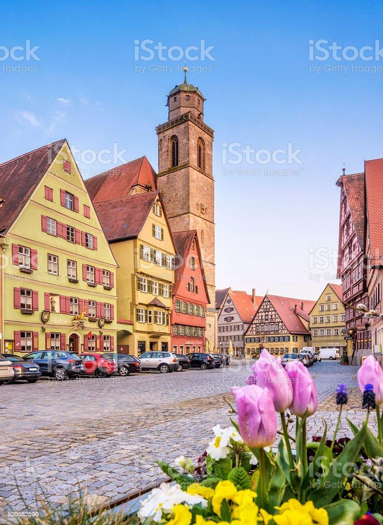 Dinkelsbühl - Market Square and Minster stock photo