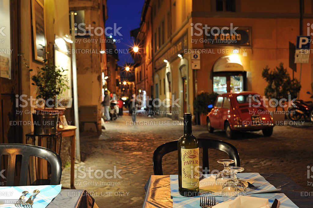 Dinner al fresco  in Rome stock photo