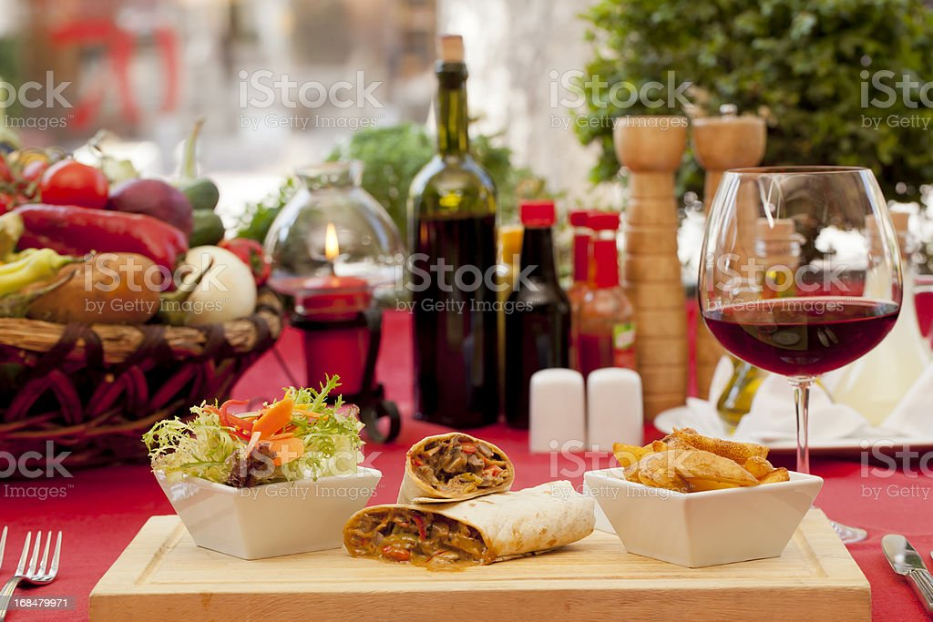 Dinner and wine - meat with lavash stock photo