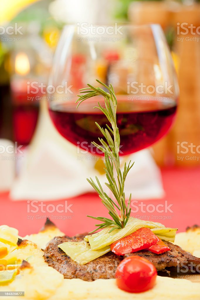 Dinner and wine - steak royalty-free stock photo