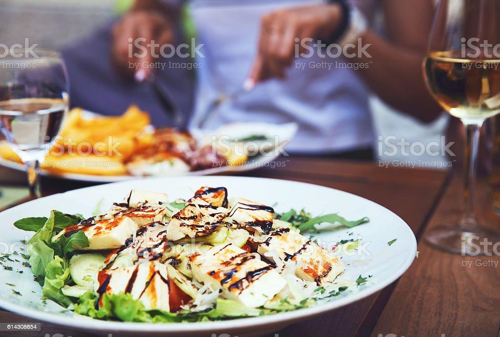 Dinner at restaurant. stock photo