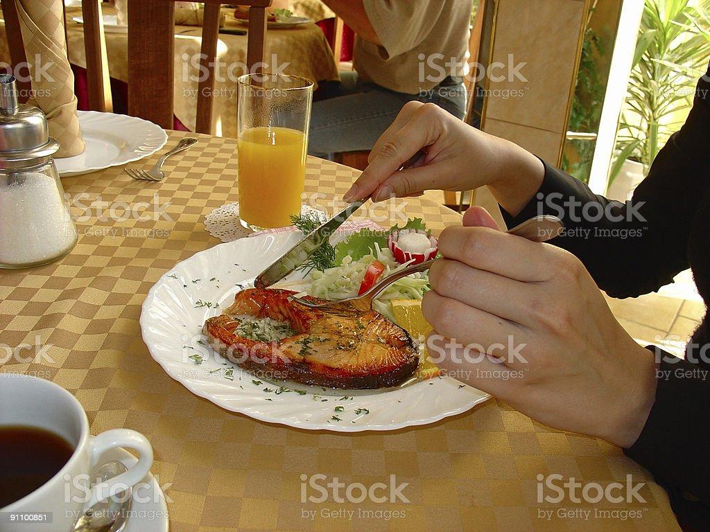 Dinner at restaurant royalty-free stock photo