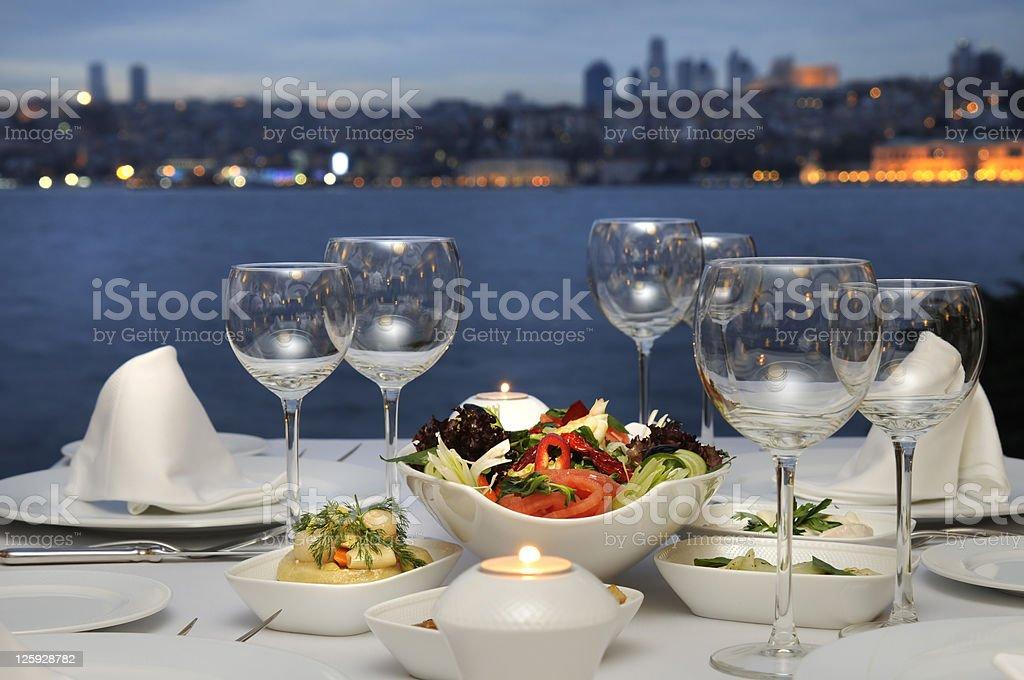 Dinner At The Bosphorus, Istanbul - Turkey (Night Shot) stock photo