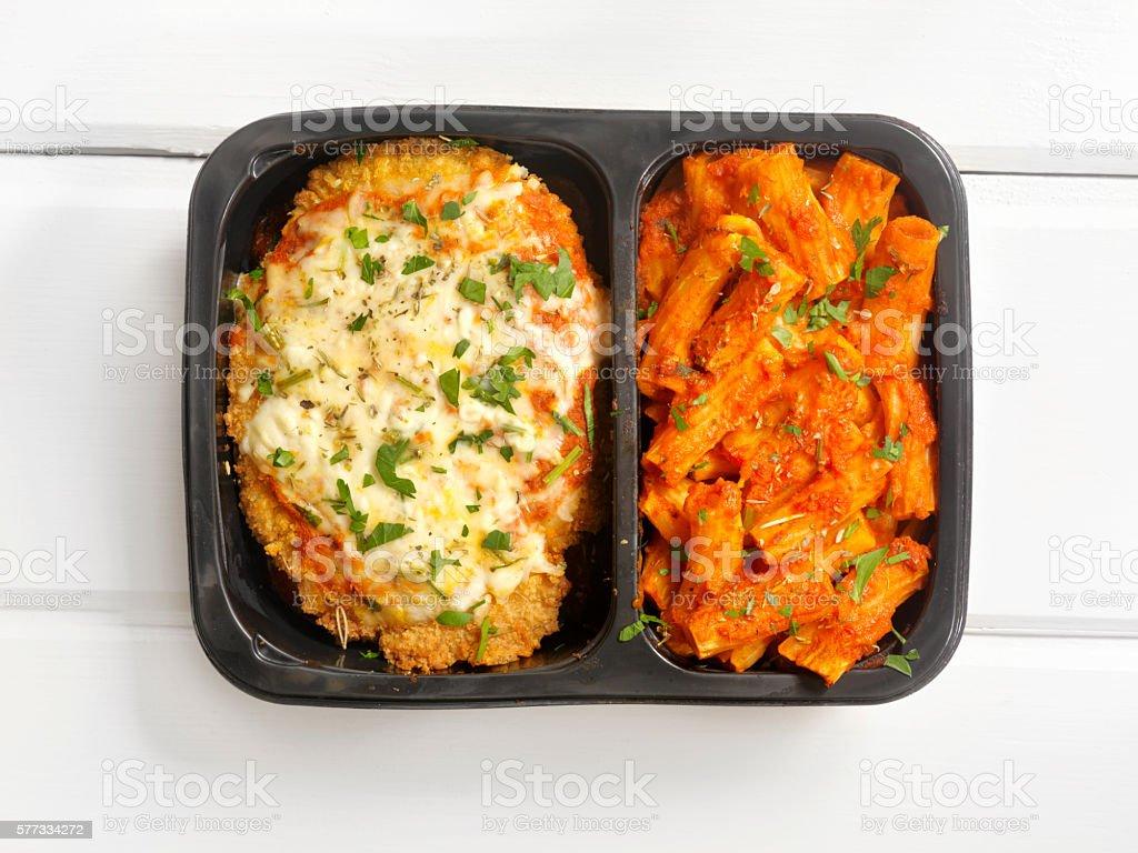 TV Dinner ,Chicken Parmesan with Rigatoni stock photo