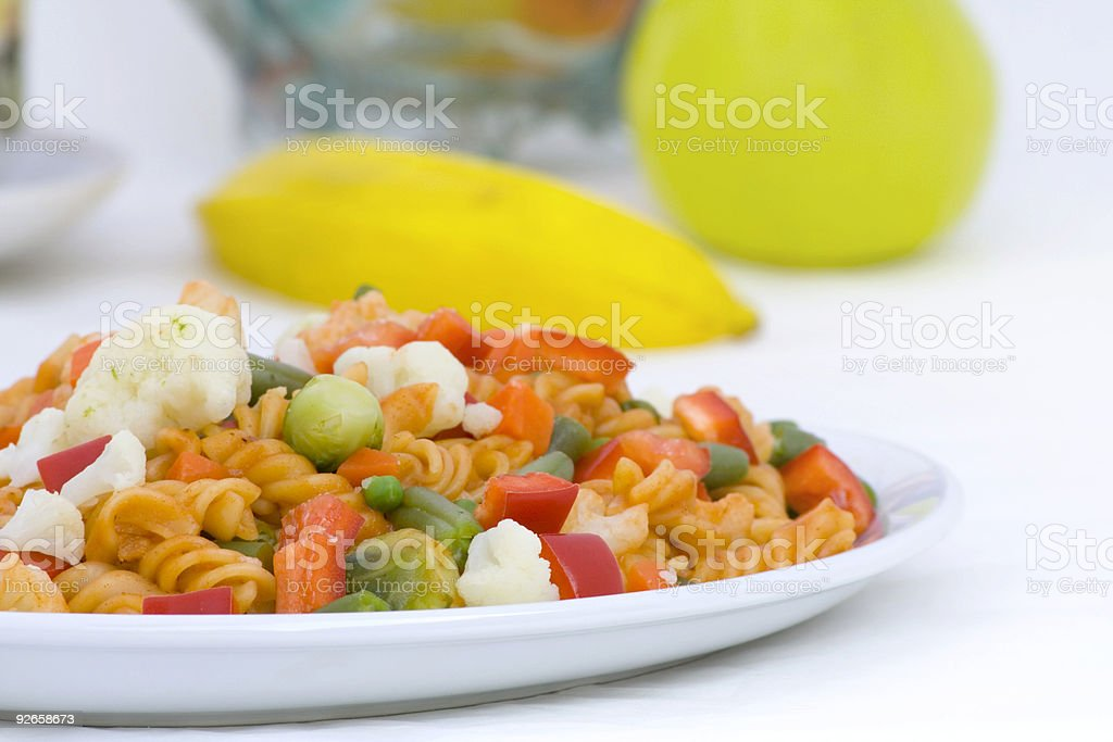 Dinner compose with pasta and vegetables royalty-free stock photo